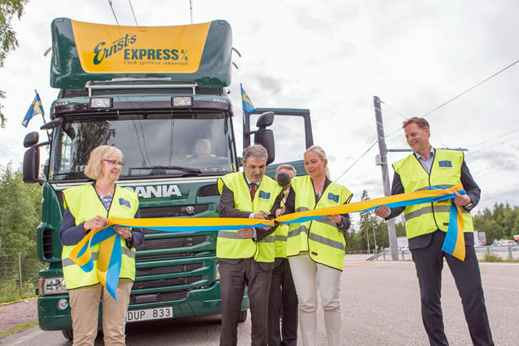 Inauguración de la autopista eléctrica en Suecia