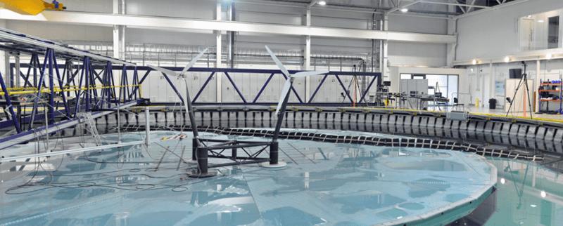 Tanque de pruebas del proyecto FloWave en el Centro Europeo de Energía Marina, que replica las condiciones oceánicas de generación de energía marítima.