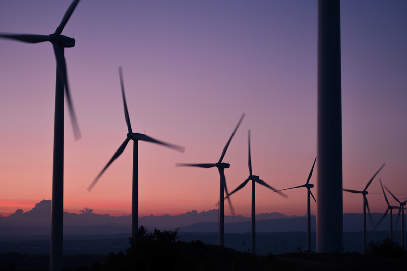 Parque eólico. Generación de energía eléctrica. Energías Renovables.