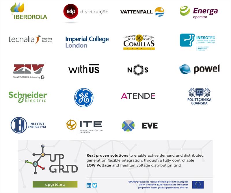 Logotipos del Proyecto UPGRID y de los socios que forman el consorcio del Proyecto UPGRID.