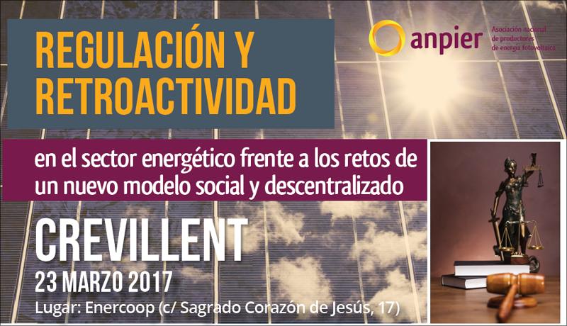 Anuncio de la jornada sobre regulación y retroactividad en el sector energético frente a los retos de un nuevo modelo social descentralizado.