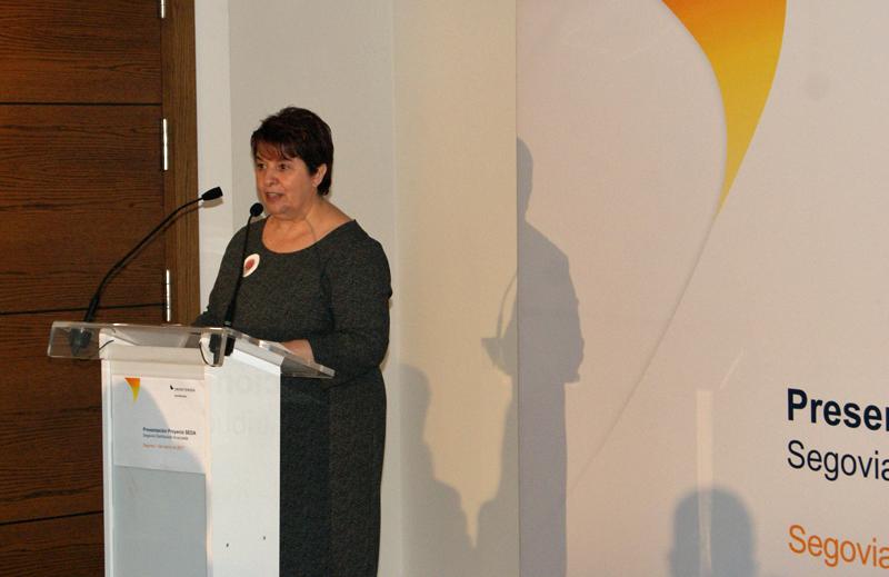Alcaldesa de Segovia, Clara Luquero, durante la presentación del proyecto SEDA