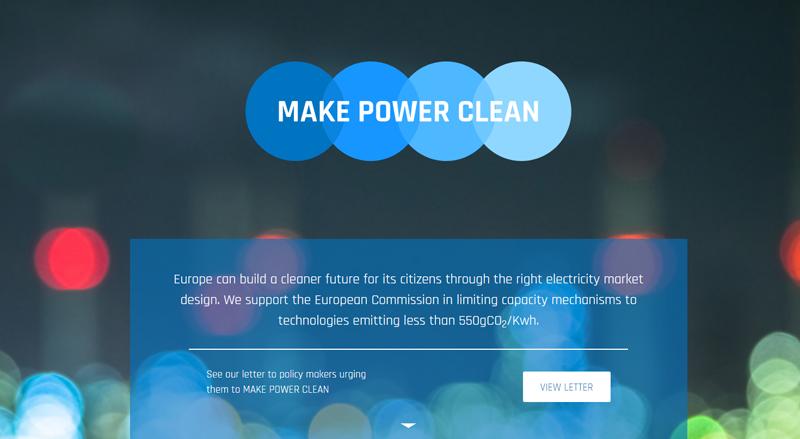 Pantallazo de la página de inicio de la website de la campaña Make Power Clean