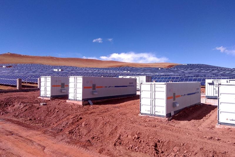 Planta de generación fotovoltaica y almacenamiento energético de Sungrow en el Tibet.