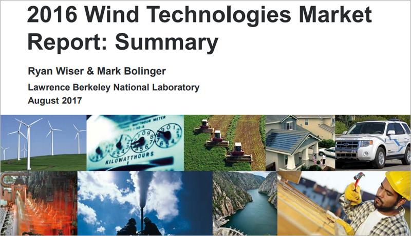 La energía eólica registró un importante crecimiento en Estados Unidos a lo largo de 2016, según indican varios informes publicados recientemente por el Departamento de Energía.