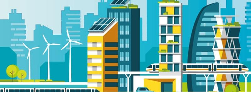 Infografía que representa una ciudad que funciona con energías renovables.