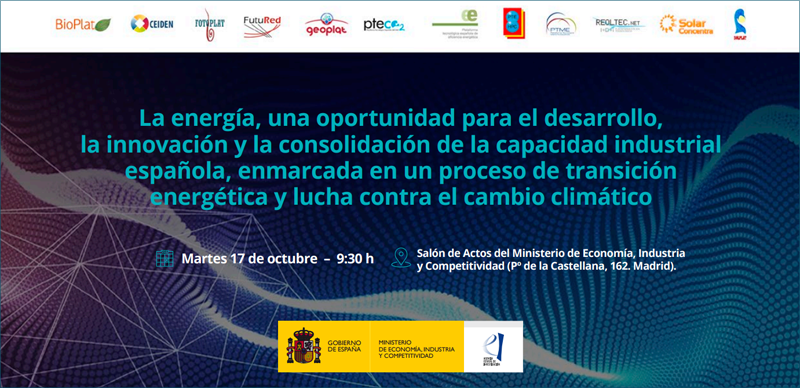Anuncio de la jornada organizada por el Comité de Coordinación de Plataformas Tecnológicas del ámbito energético.