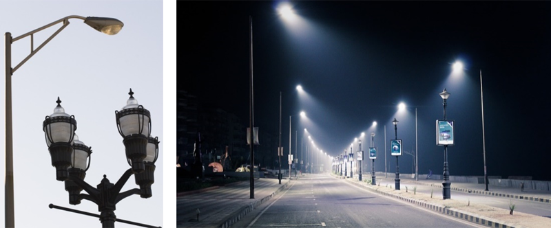 Figura 1. Izquierda: Dos tipos de alumbrado público. Fuente Wikipedia (CC). Derecha: Iluminación LED. Fuente Pixabay (CC).