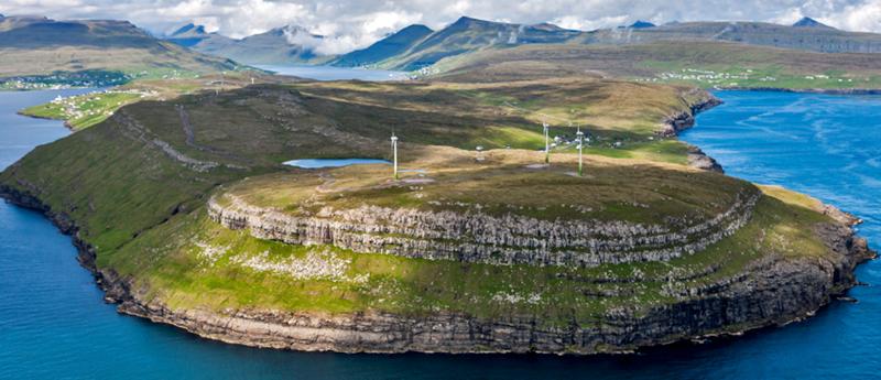 Parque eólico de Hushagi en Islas Feroe.