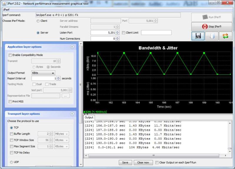 Captura del programa iperf ejecutado en el lado del servidor.
