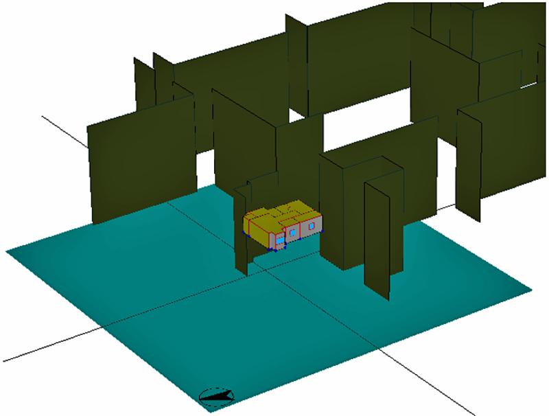 Figura 2. Modelo de la vivienda en HULC y sombras de los edificios circundantes.