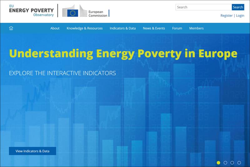 Página de inicio del portal del Observatorio Europeo de la Pobreza Energética.
