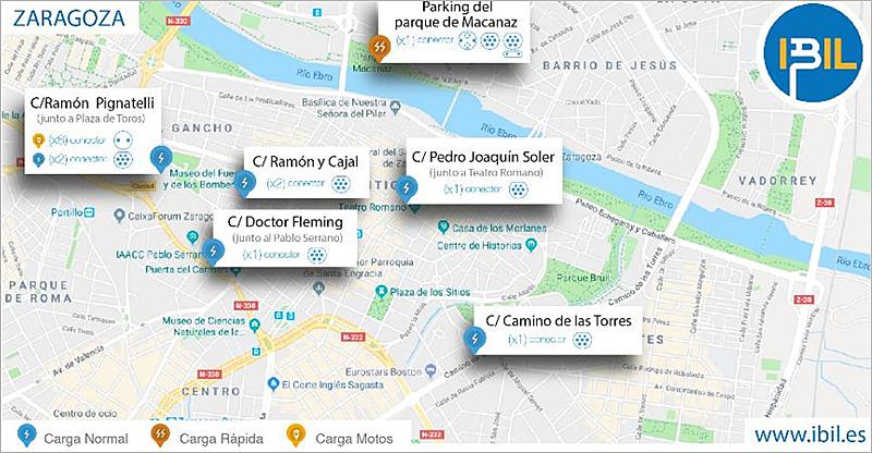 Mapa de ubicaciones y tipologías de los ocho puntos de recarga para vehículos eléctricos que Ibil instalará en Zaragoza y que estarán alimentados por energía renovable.