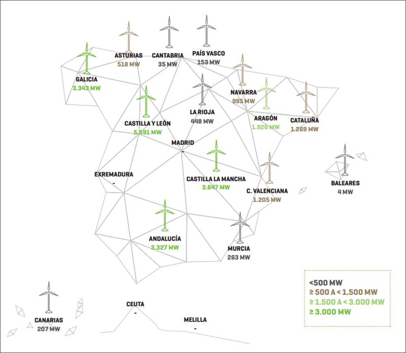 Mapa de España potencia eólica