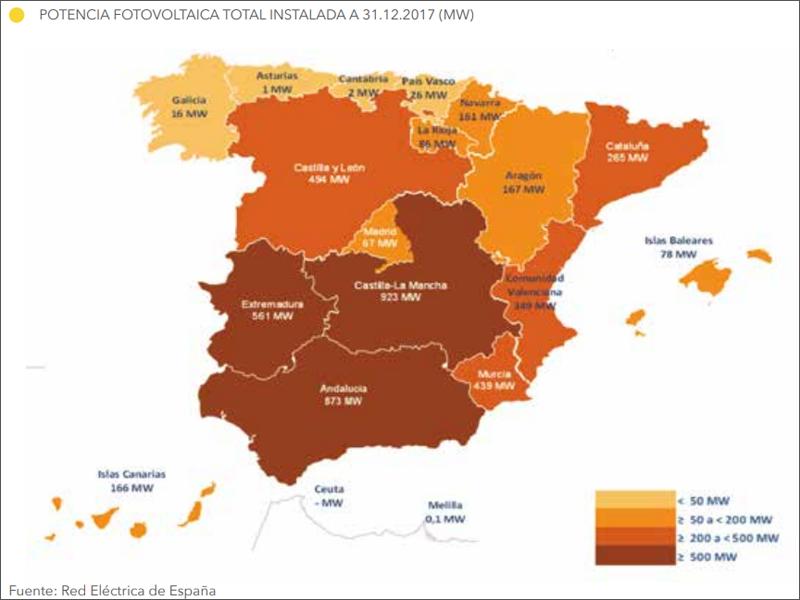 Mapa de España que refleja la potencia fotovoltaica total instalada