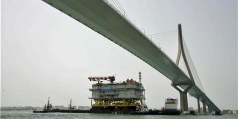 La subestación Andalucía II ya viaja desde Cádiz rumbo al parque eólico East Anglia One de Reino Unido