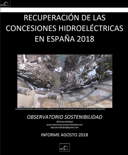 Portada del Observatorio de Sostenibilidad sobre la Recueración de las concesiones hidroeléctricas en España.
