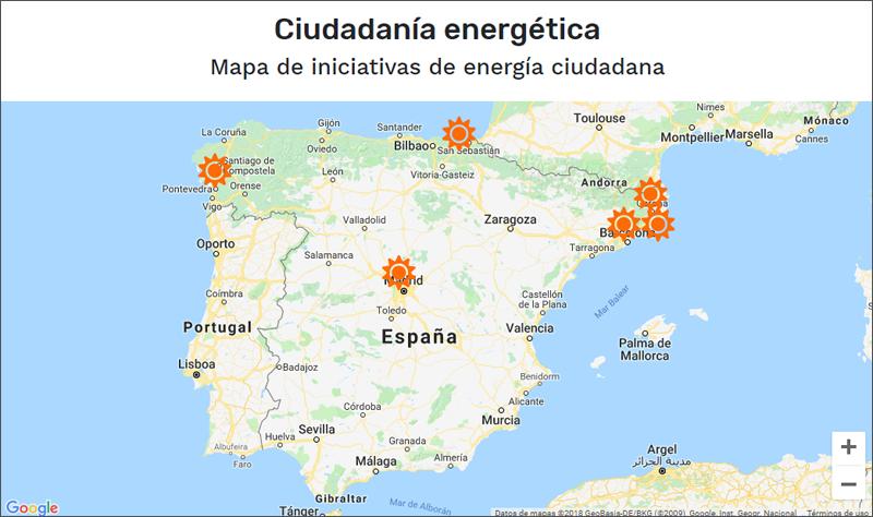Mapa de ciudadanía energética elaborado por Greenpeace y la Fundación Fiare