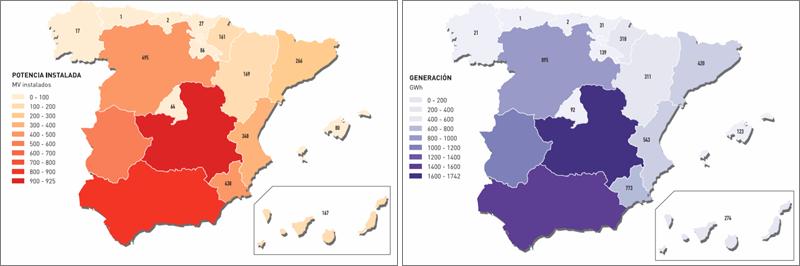 Mapas con la potencia fotovoltaica instalada y generada por comunidades autónomas.