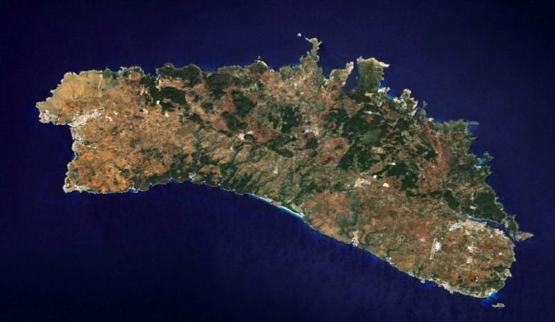 Isla de Menorca. Vista satélite.