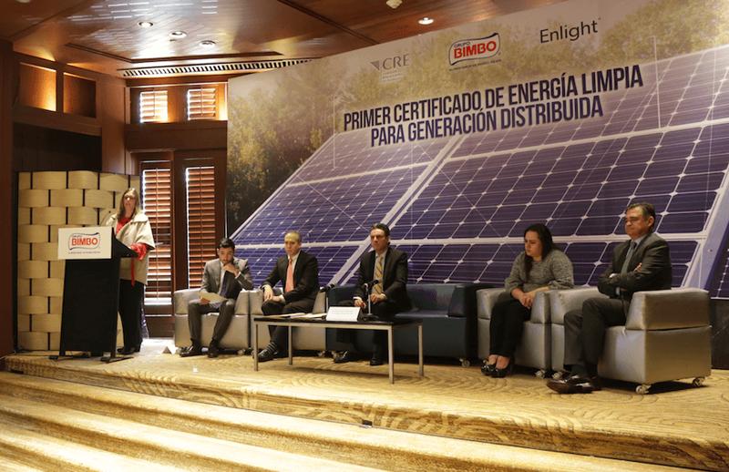 Rueda de prensa donde Grupo Bimbo anunció su emisión de Certificado de Energía Limpia.