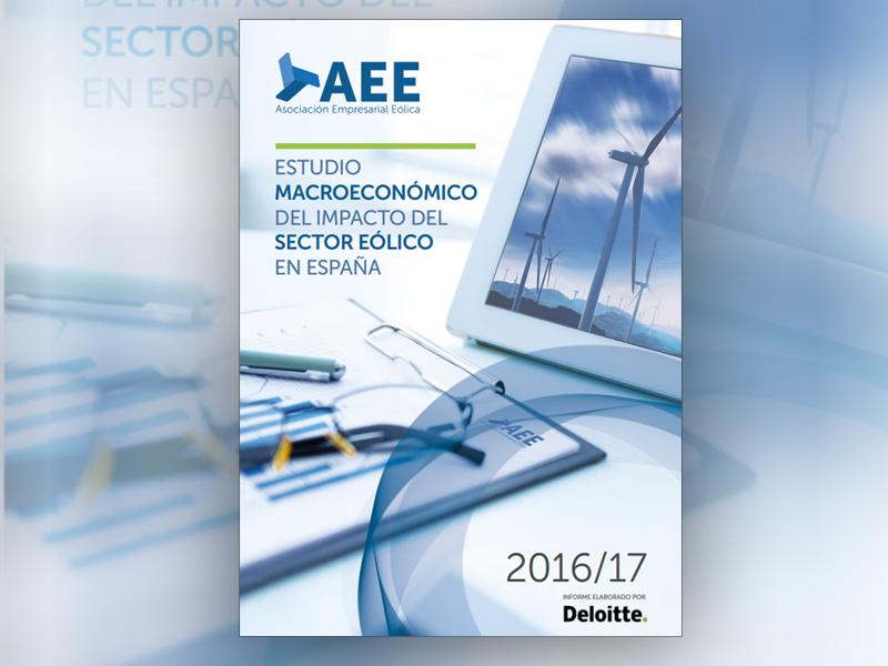 Portada del Estudio Macroeconómico del impacto del sector eólico en España de AEE.