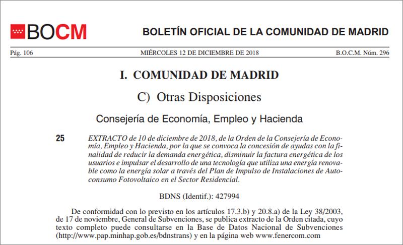 Primer fragmento de la publicación en el BOCM de la convocatoria del Plan de Impulso de Instalaciones de Autoconsumo en la Comunidad de Madrid.