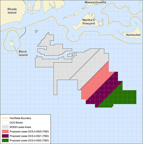 Mapa frente a las costas de Massachusset donde se instalarán los nuevos proyectos eólicos marinos.