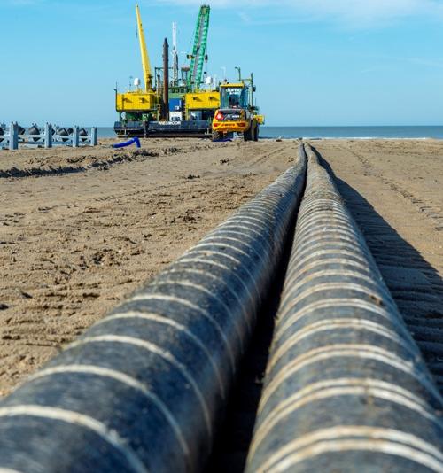 Obras de construcción del cable submarino Nemo Link, entre Reino Unido y Bélgica.