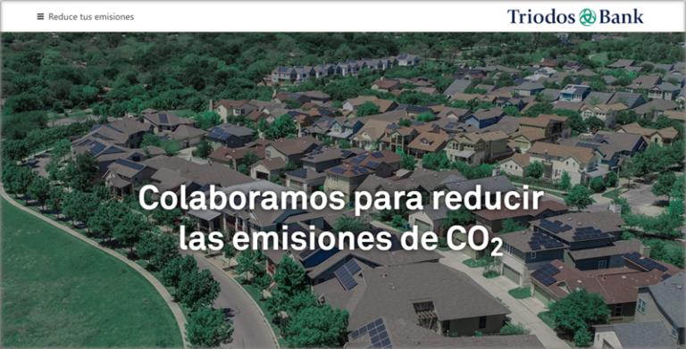 Página de iniio de 'Reduce tus emisiones' de Triodos Bank