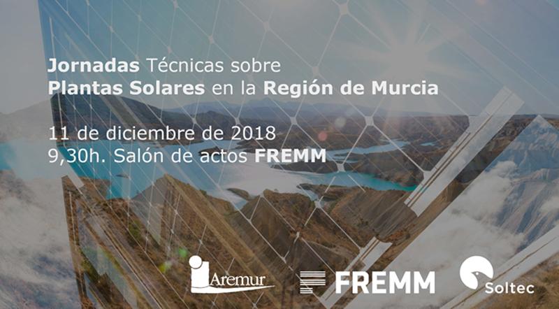 Anuncio de la Jornada sobre Plantas Solares en la Región de Murcia.