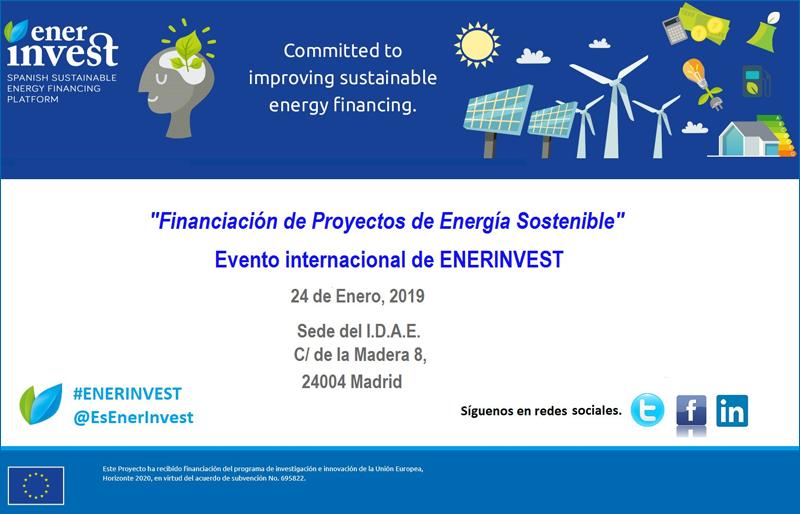 Cartel del evento internacional de EnerInvest sobre financiaicón de proyectos de energía sostenible.