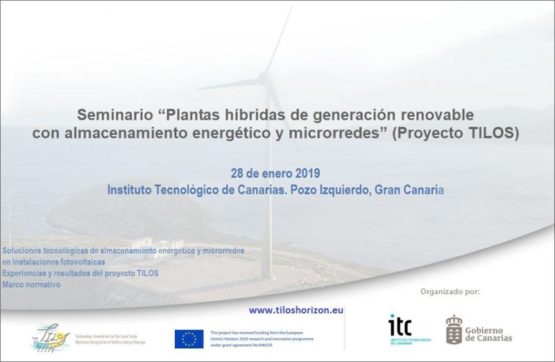 """anuncio Seminario """"Plantas híbridas de generación renovable con almacenamiento energético y microrredes"""" (Proyecto TILOS)."""