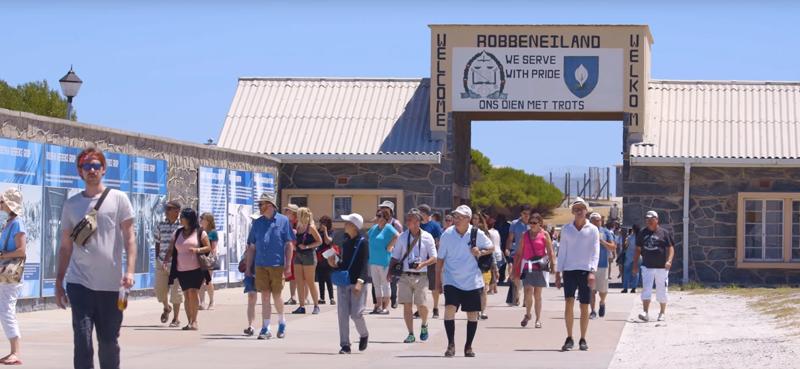 Turistas en Robben Island.