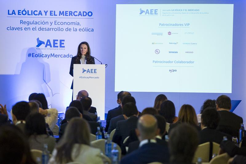 Rocío Sicre, presidenta de la Asociación Empresarial Eólica (AEE) en la inauguración de una nueva edición de la jornada La Eólica y el Mercado, que le celebra hoy en Madrid.