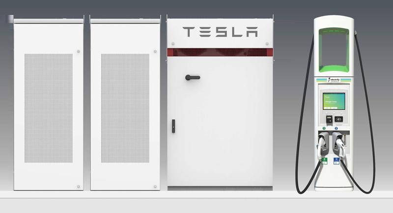 Cargadores de vehiculos eléctricos de Tesla con sistema de almacenamiento estacionario.