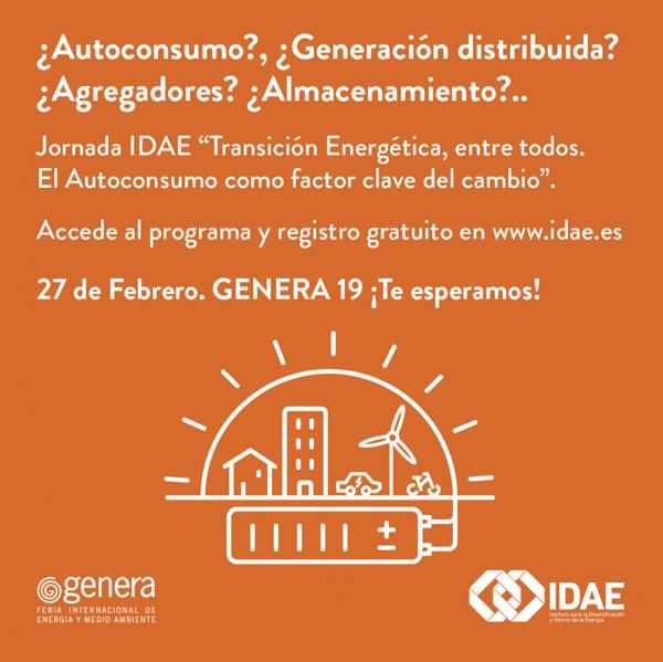 """Anuncio de la jornada del IDAE titulada """"Transición energética, entre todos: El autoconsumo como clave del cambio"""""""