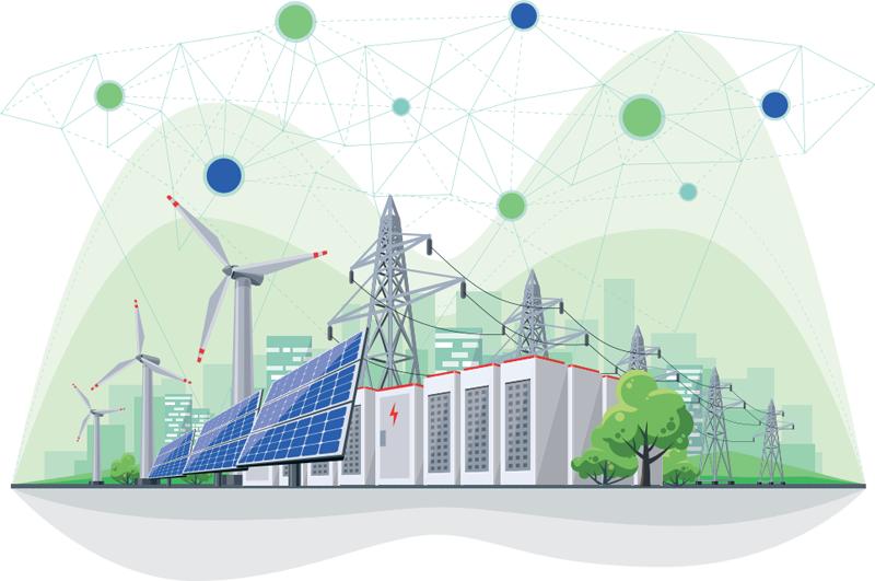 Infografía que muestra un sistema eléctrico con integración de energías renovables.