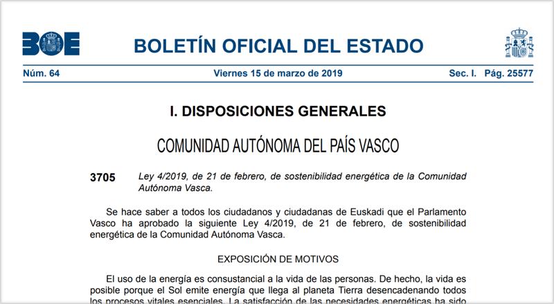 Publicación en el BOE de la Ley de Sostenibilidad Energética de la Comunidad Autónoma Vasca