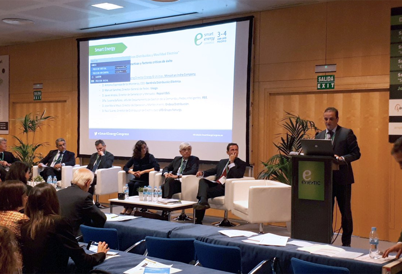 Leonardo Benítez, director de energía & utilities de Minsait, durante su exposición en el Smart Energy Congress.