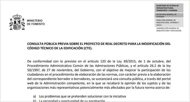 Publicación de la consulta pública previa del Ministerio de Fomento