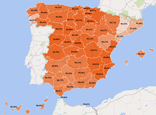 Porcentajes de contadores inteligentes instalados en cada una de las provincias de España. Imagen: CNMC