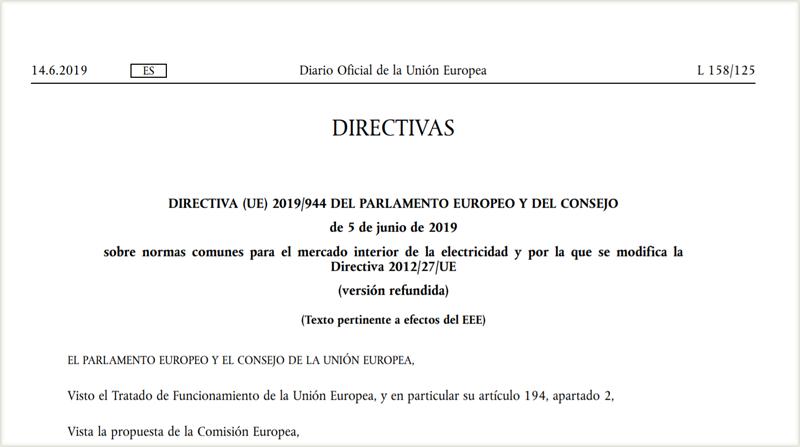 Directiva 944/2019 sobre normas comunes para el mercado interior de la electricidad