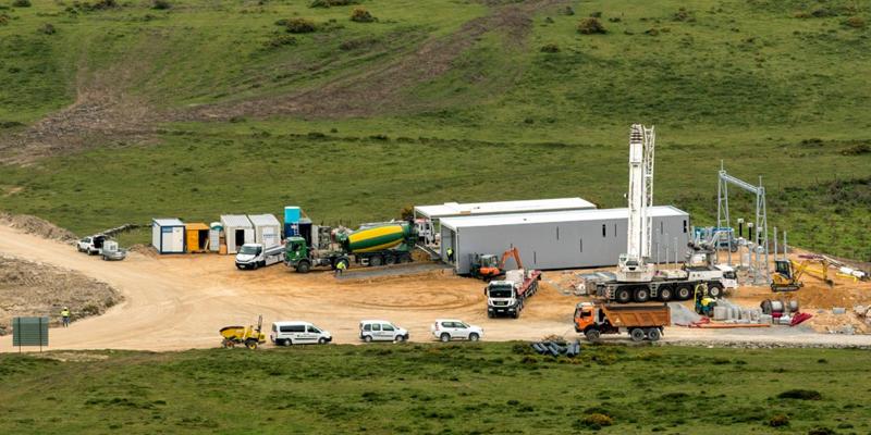 Obras de construcción del parque eólico de Norvento