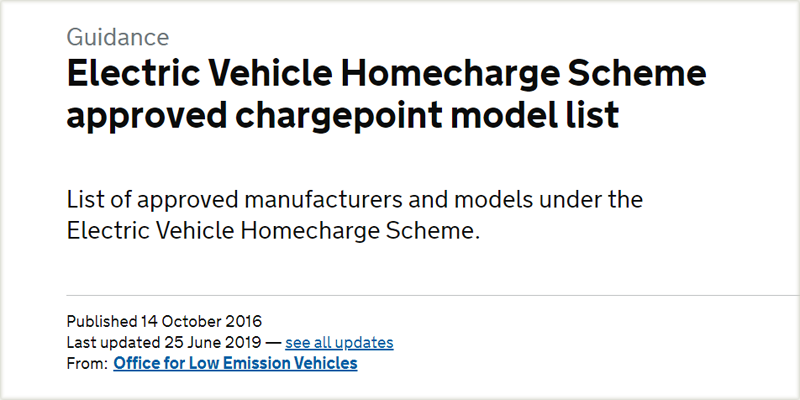 Electric Vehicle Homecharge Scheme approved chargepoint model list