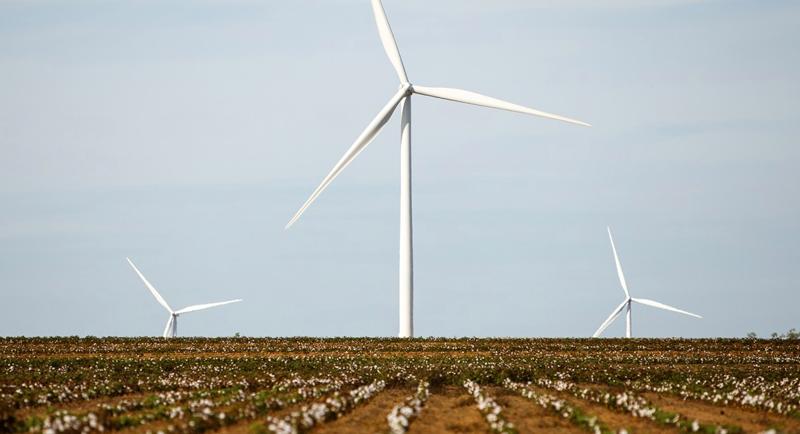 Una turbina eólica en un campo.