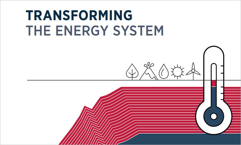 """Portada del informe de Irena titulado """"Transformar el sistema energético... y contener el aumento de la temperatura del planeta""""."""