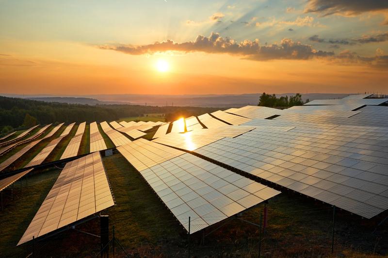 Placas solares en un atardecer.