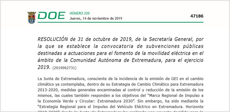 Extracto de la convocatoria Convocatoria Diario Oficial de Extremadura