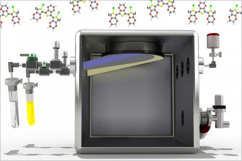 Un dibujo de una pantalla con el polímero.